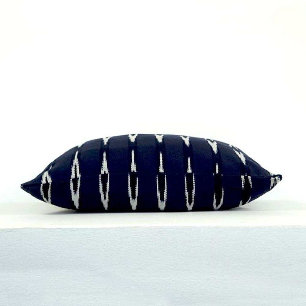 Indigo Ikat lumbar pillow cover 2