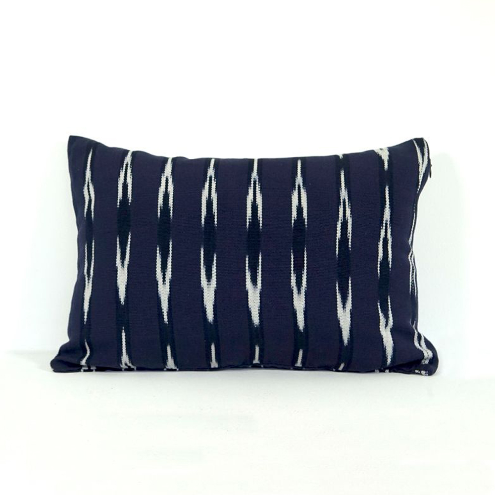 Indigo Ikat lumbar pillow cover 3