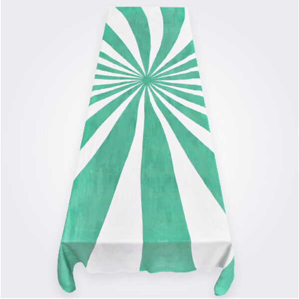Large green le cirque linen tablecloth product picture.