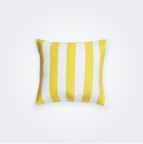 Lemon Yellow Striped Linen Pillow Cover