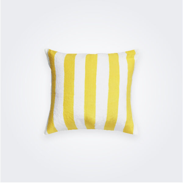 Lemon yellow striped linen pillow cover product picture.
