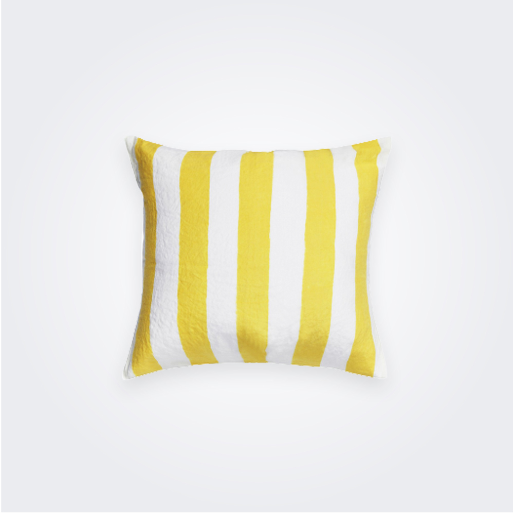 Yellow Striped Linen Pillow Cover 1