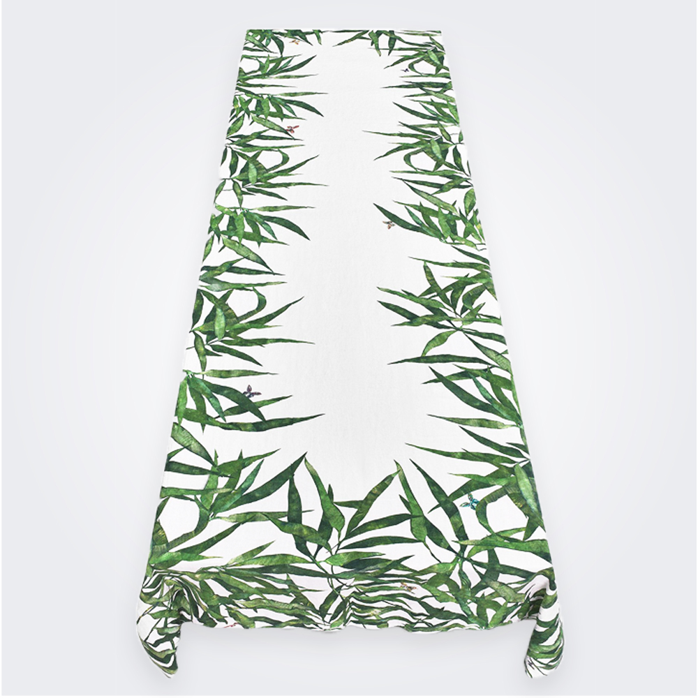 Les Palmiers Linen Tablecloth in Green (L)