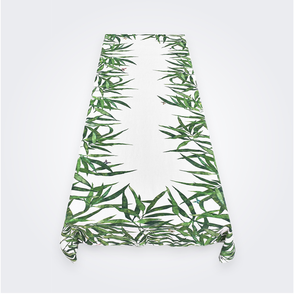 Les Palmiers Linen Tablecloth in Green (M)
