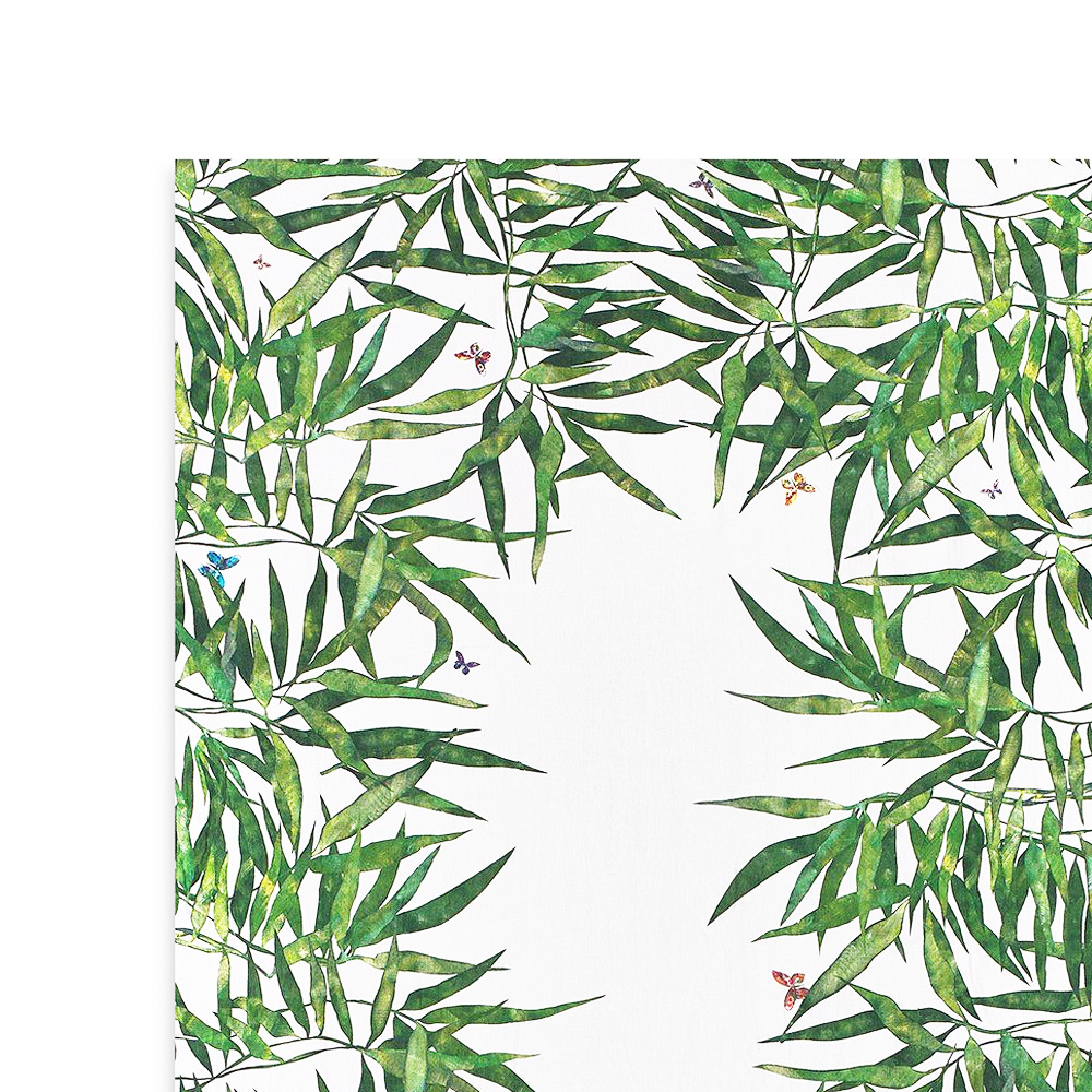 Les Palmiers Linen Tablecloth in Green (S y L) 2