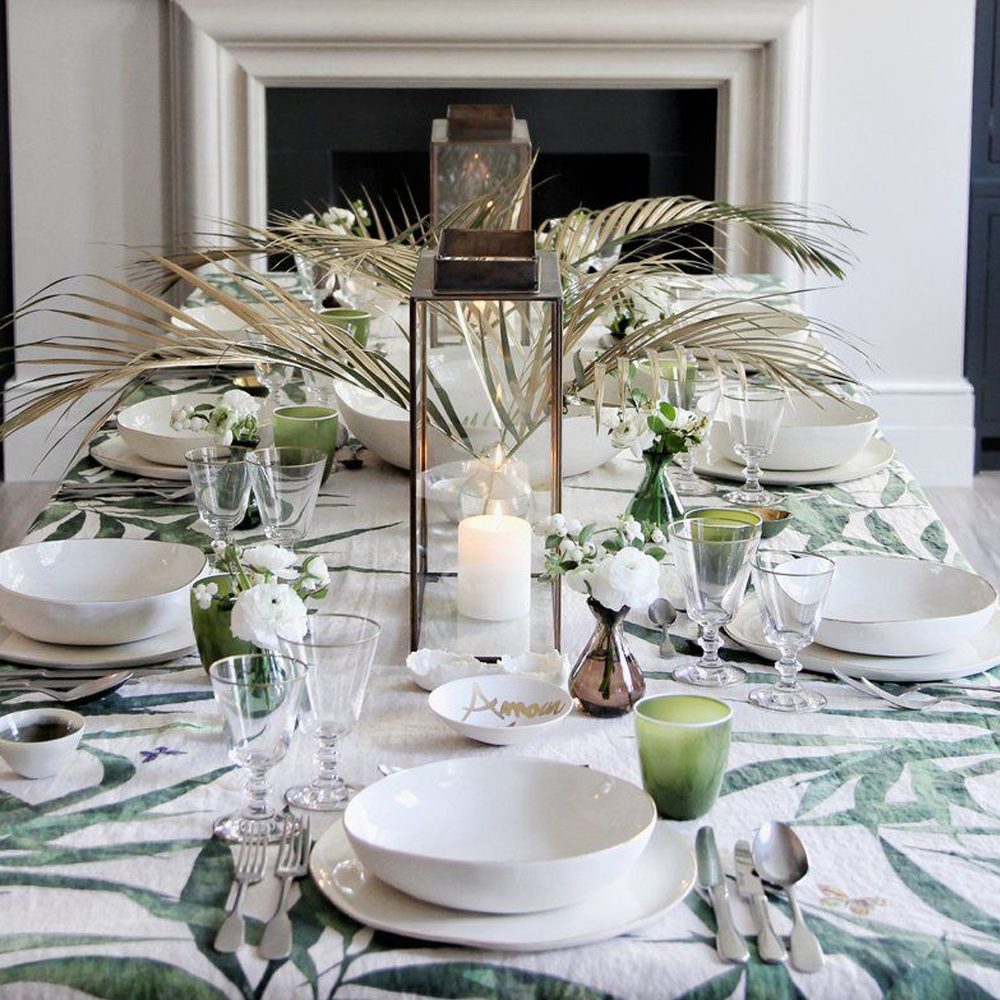 Les Palmiers Linen Tablecloth in Green (S y L) 6