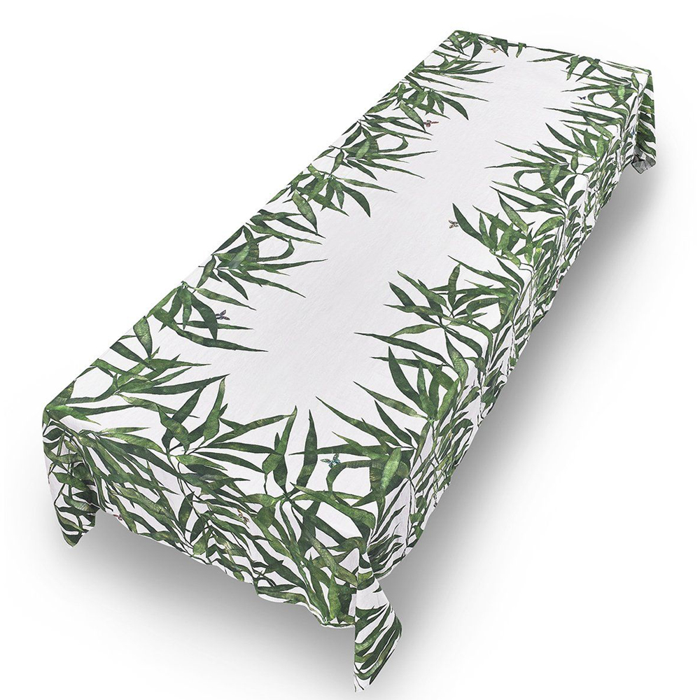 Les Palmiers Linen Tablecloth in Green (SL) 3