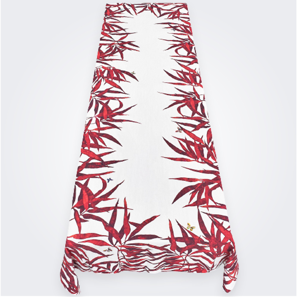 Les Palmiers Linen Tablecloth in Red ( L) 1