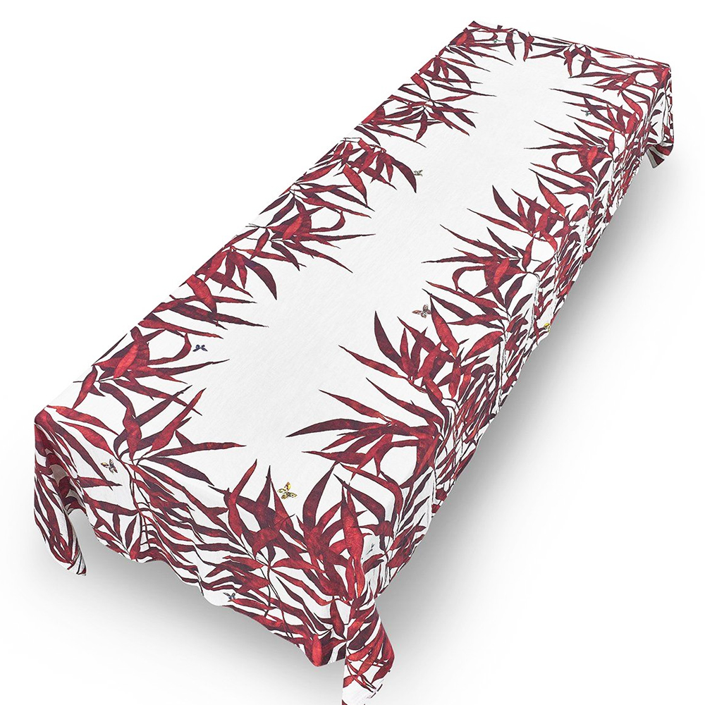 Les Palmiers Linen Tablecloth in Red ( L) 3