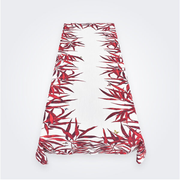 Medium red palmiers tablecloth product picture.