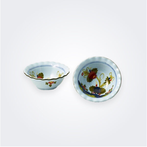 Small light blue majolica small bowl set product picture.