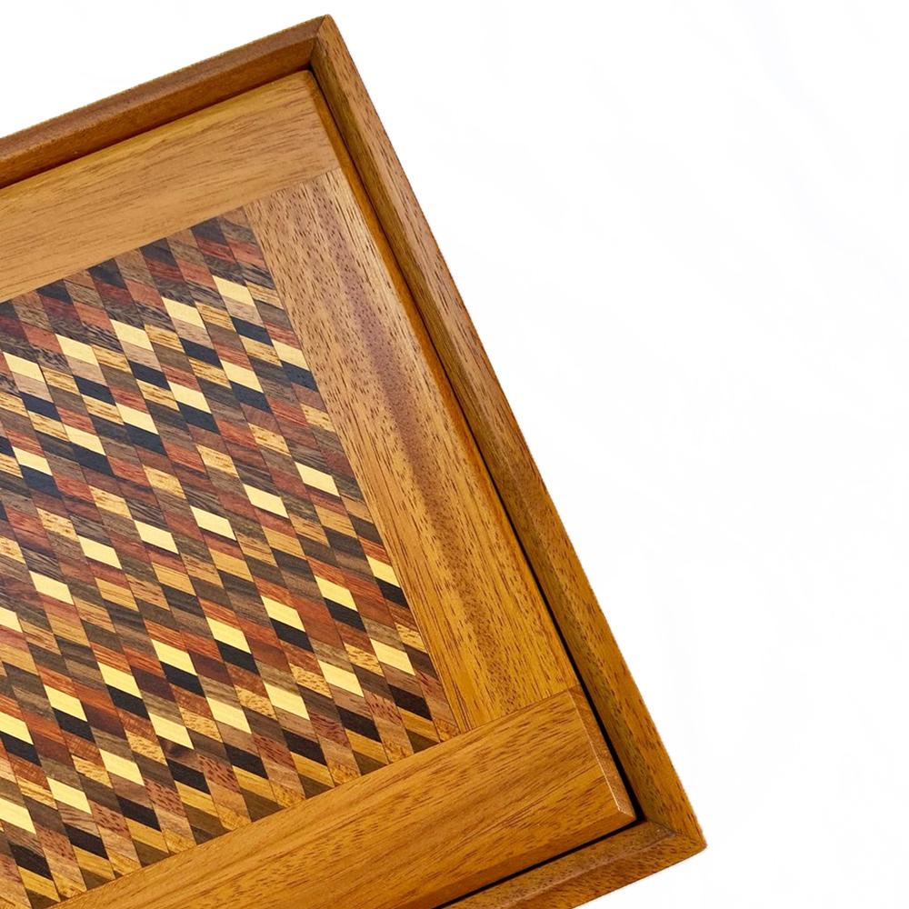 Mosaic wood tea box with lid 2