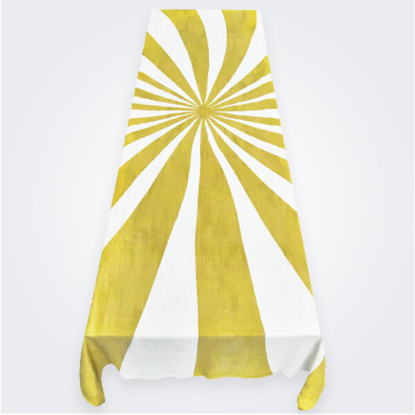 Large mustard le cirque linen tablecloth product picture.