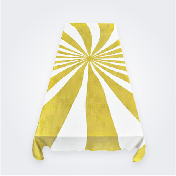 Mustard le cirque linen tablecloth product picture.