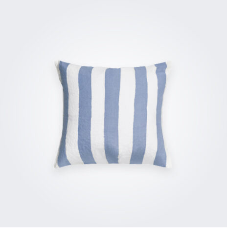 Pale Blue Striped Linen Pillow Cover