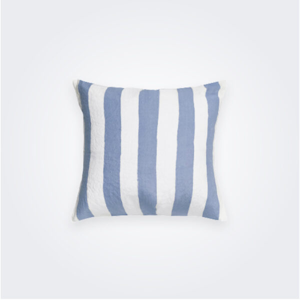 Pale blue striped linen pillow cover product picture.