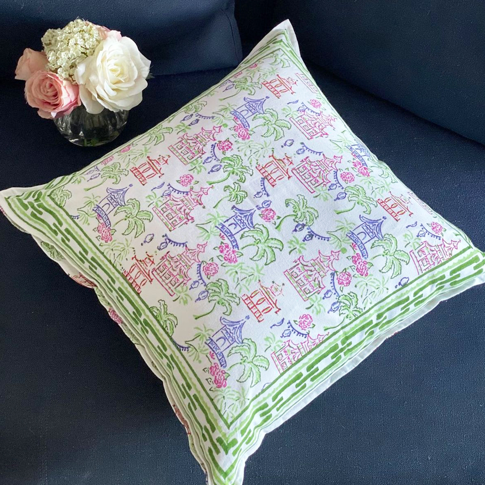 Palm Pagodas Pillow Cover 003