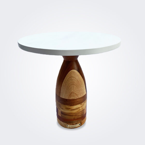 Patterned wood cake pedestal product picture.
