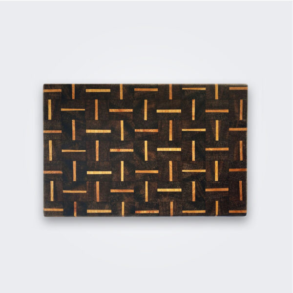 Patterned wood cutting board product picture.