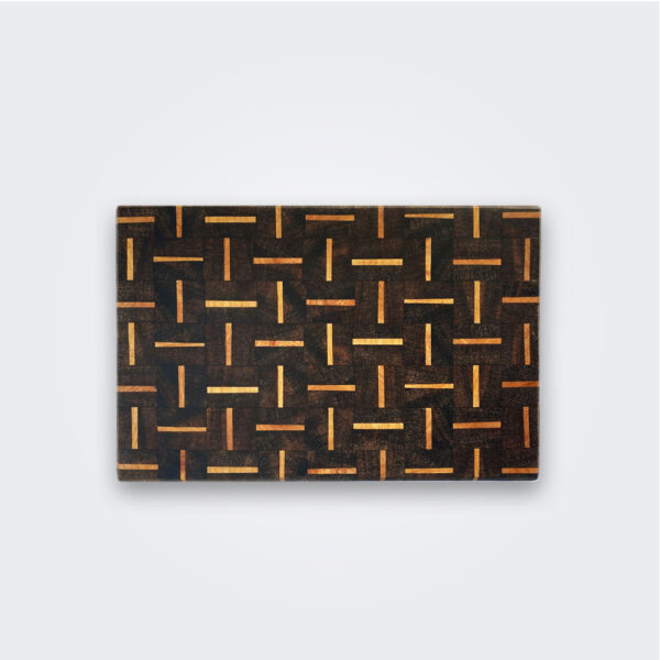 Small patterned wood cutting board product picture.
