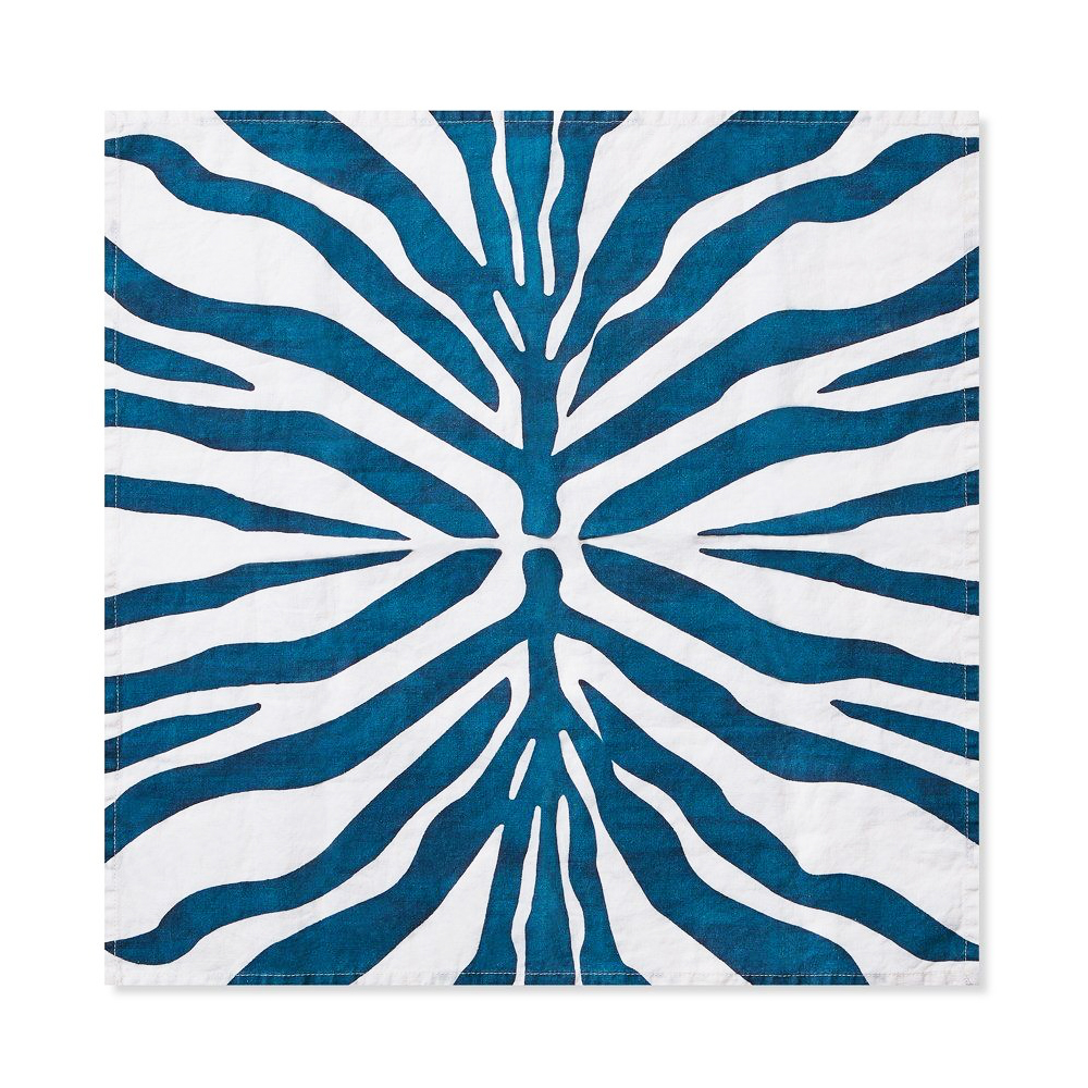 Petrol Blue Zebra Linen Napkin 2
