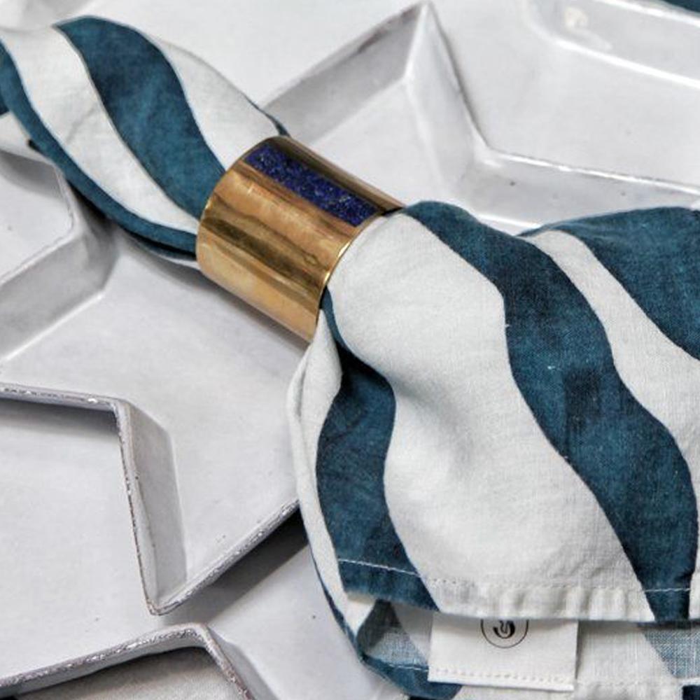 Petrol Blue Zebra Linen Napkin 3