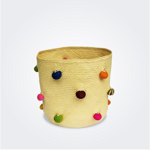 Pompoms palm basket product picture.