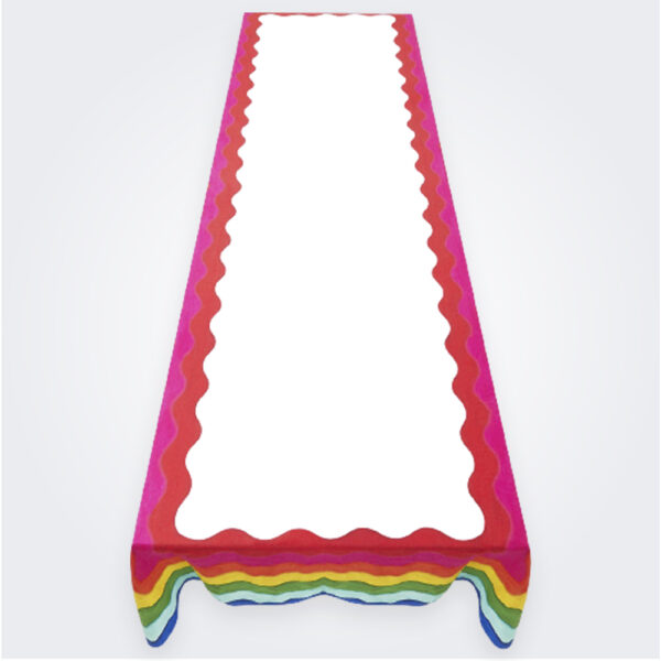 Large rainbow linen tablecloth product picture.