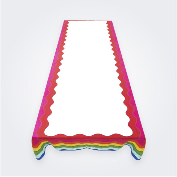 Rainbow linen tablecloth product picture.
