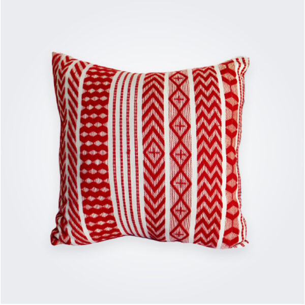 Red Guatemalan pillow cover product picture.