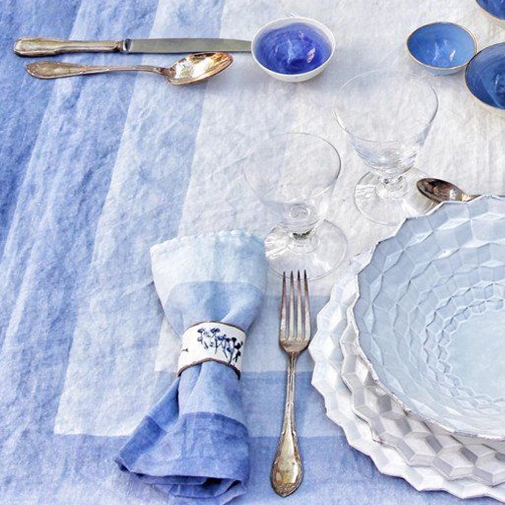 Shades Of Blue Striped Linen Napkin 3