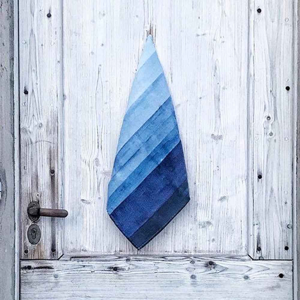 Shades Of Blue Striped Linen Napkin 4