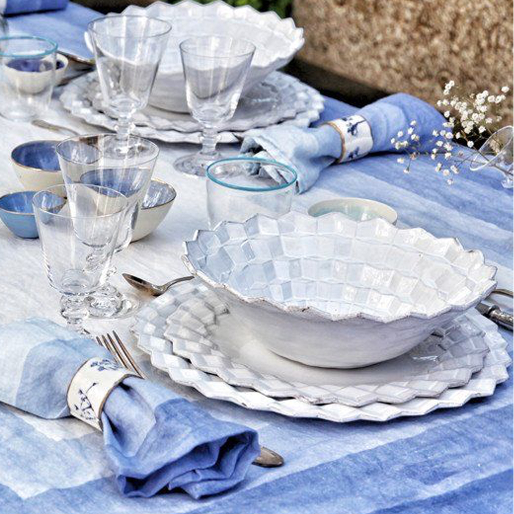 Shades Of Blue Striped Linen Tablecloth M 4