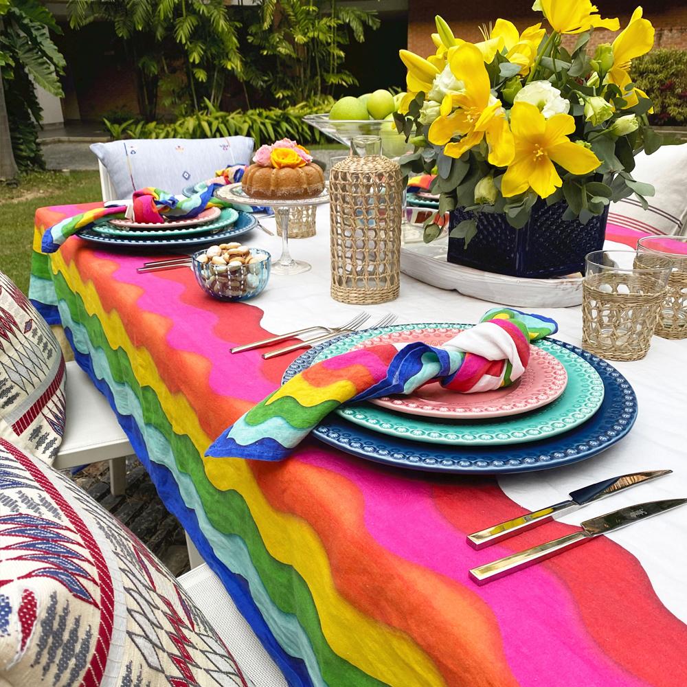 Large Rainbow Linen Tablecloth 7