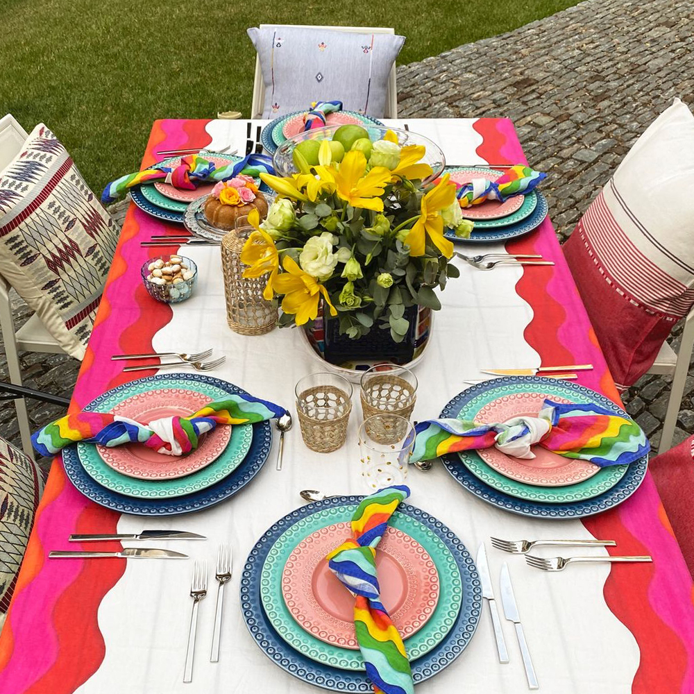 Large Rainbow Linen Tablecloth 8877