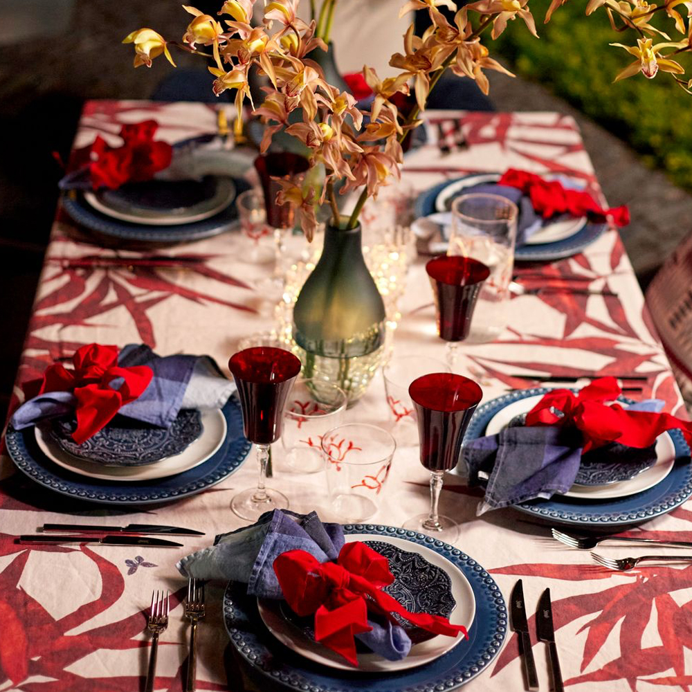 Large Red Palmiers Tablecloth 453