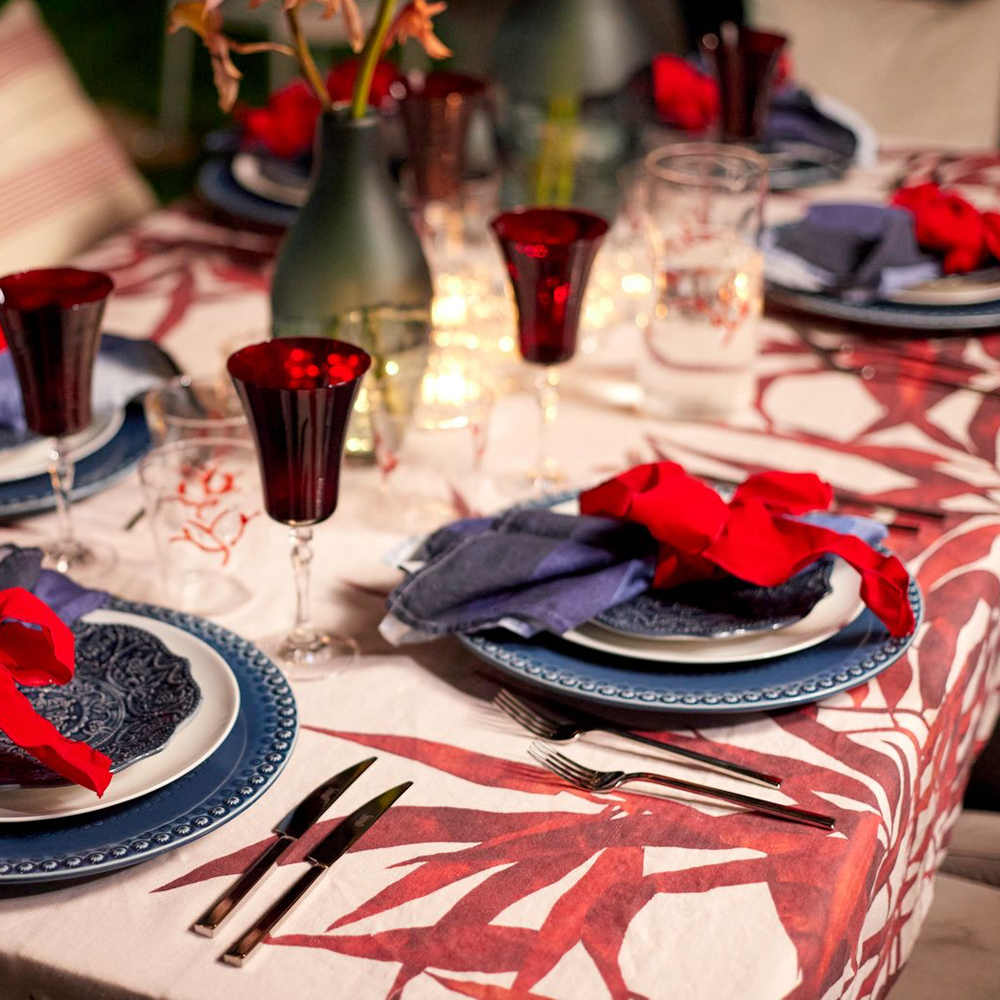 Large Red Palmiers Tablecloth 654