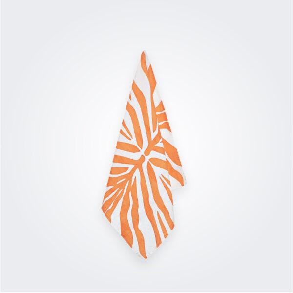 Tangerine zebra linen napkin product picture.