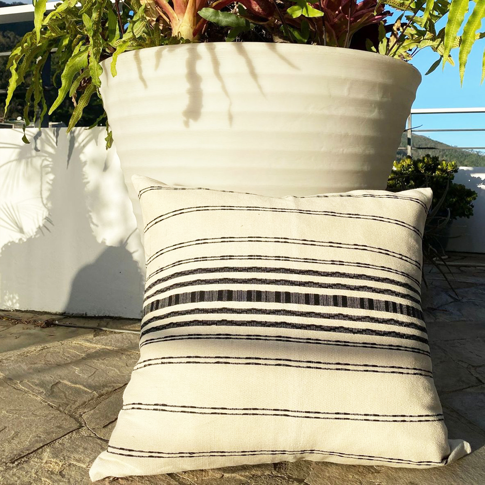 White and Black Striped Pillow Cover 003