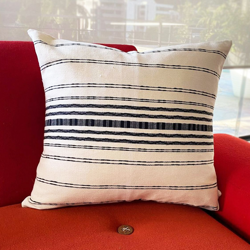 White and Black Striped Pillow Cover 006