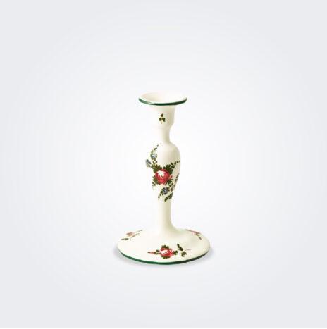White Italian Pottery Candlestick