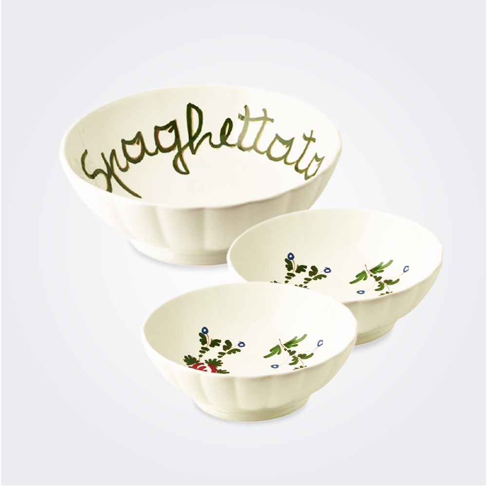 White italian pottery spaghetti bowl set 1