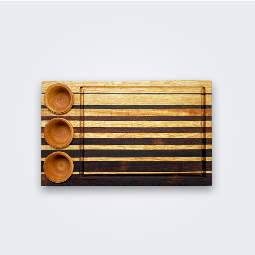 Wood cutting board with containers 1