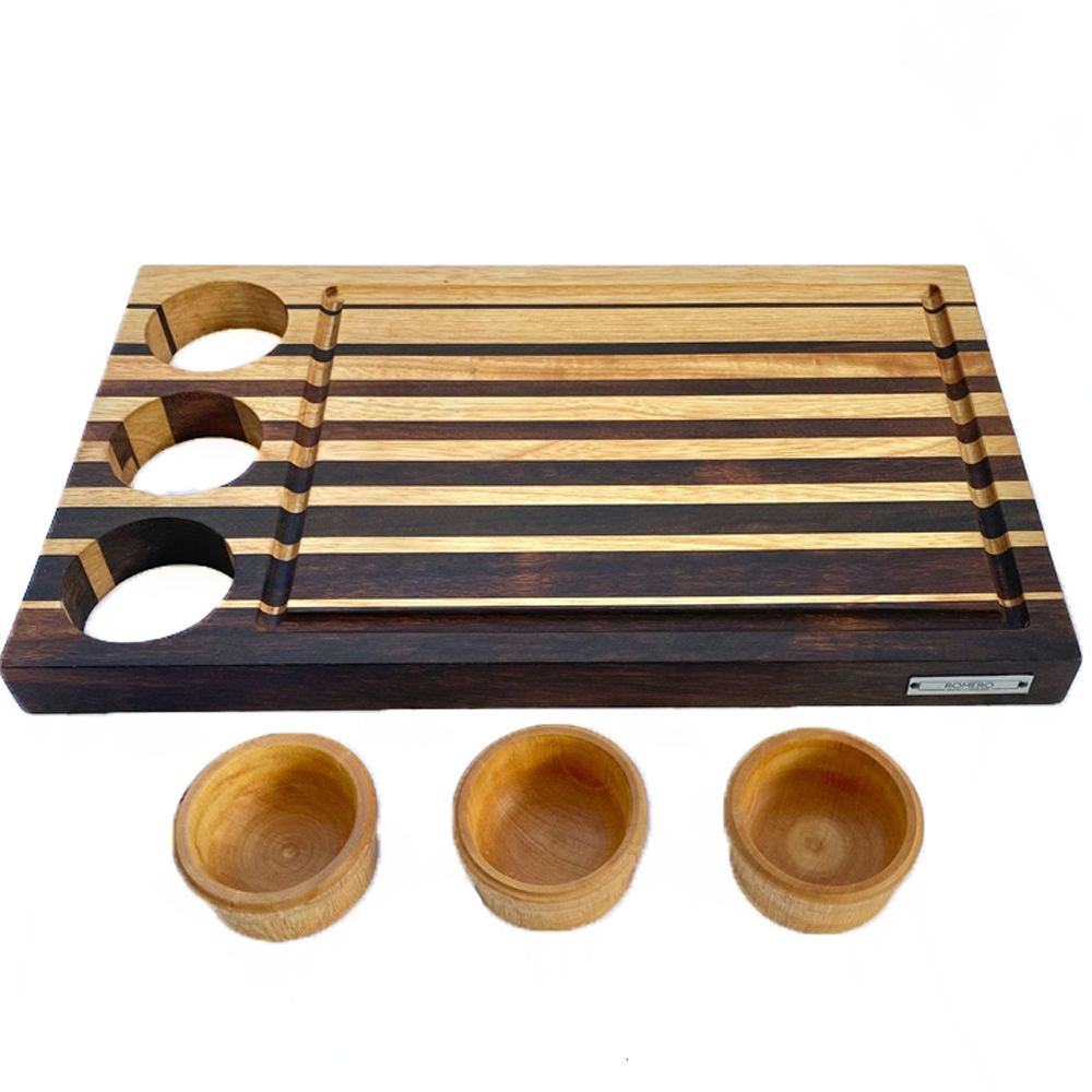 Wood cutting board with containers 3