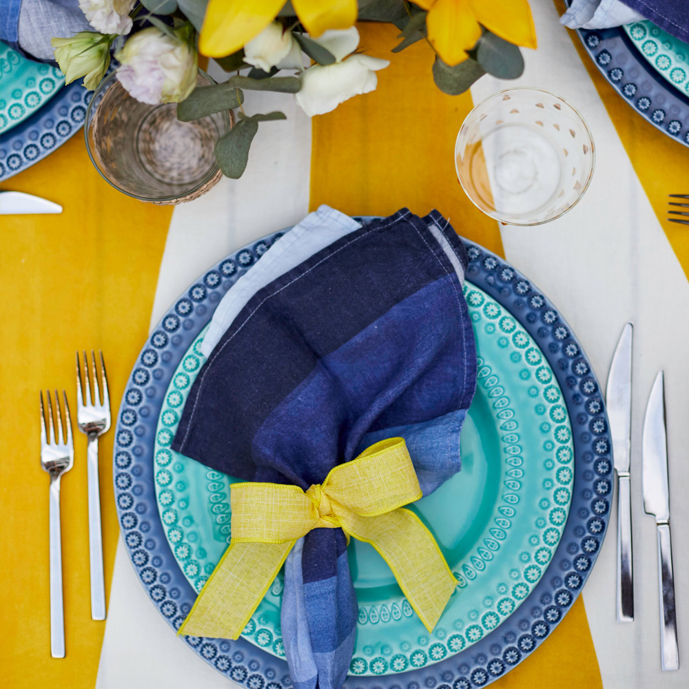 Shades of Blue Linen Napkin Set 005