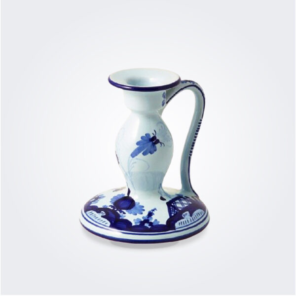 Blue majolica candlestick product picture.