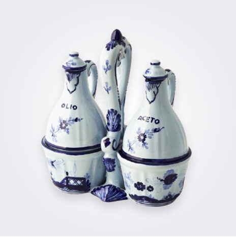 Blue Majolica Salad Dressing Set