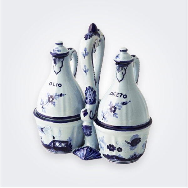 Blue majolica salad dressing set product picture.