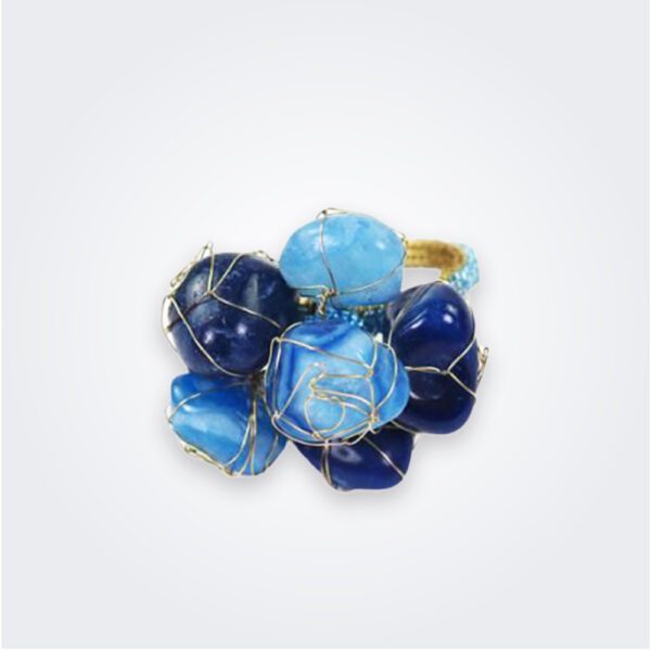 Blue stones napkin ring set product picture.