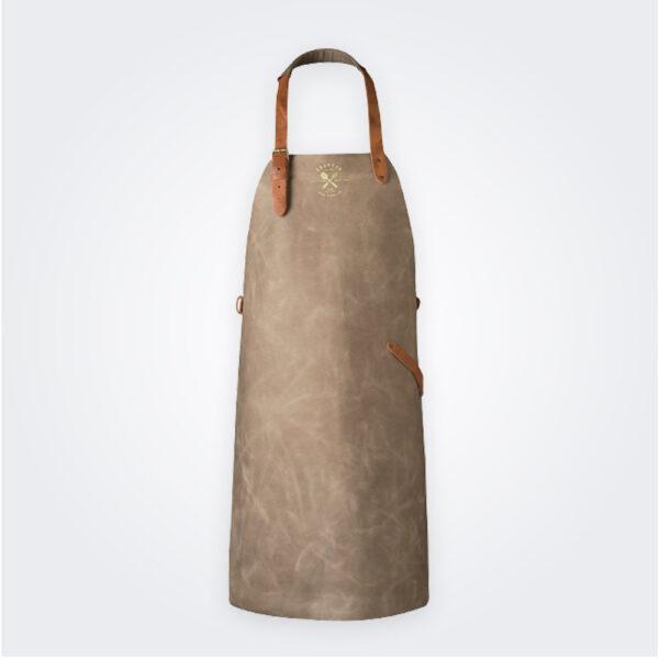 Vintage leather apron gray product photo.
